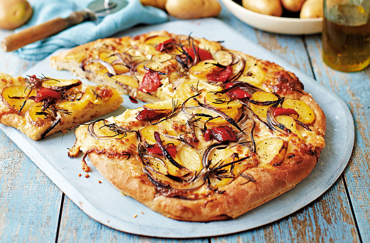 Potato, red onion and rosemary pizza