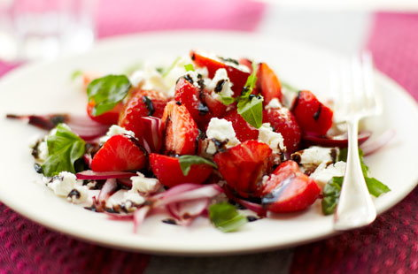 SALAD strawberryandbasilsaladwithbalsamicreduction Th