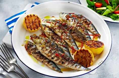 Sardines with chilli, garlic and lemon