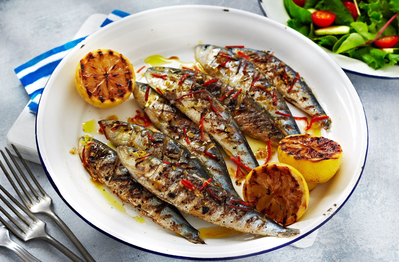 Grilled sardines sardine recipes tesco real food for Grilled white fish recipes