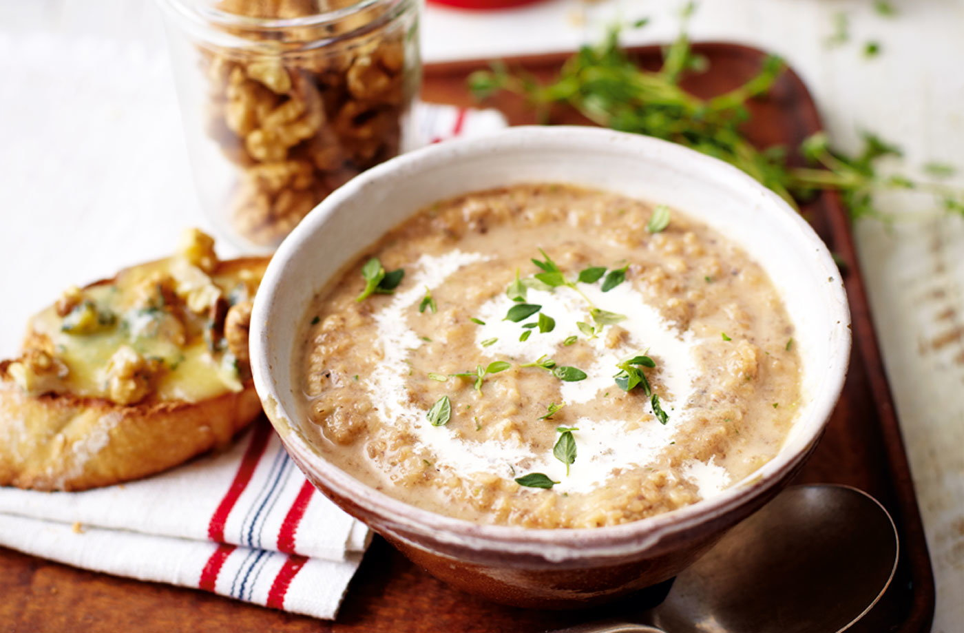 Mushroom, thyme and wild rice soup with stilton and walnut croutes