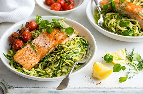 Using pre-prepared courgetti makes this salmon recipe super speedy to prepare, while a homemade watercress and dill pesto adds heaps of flavour