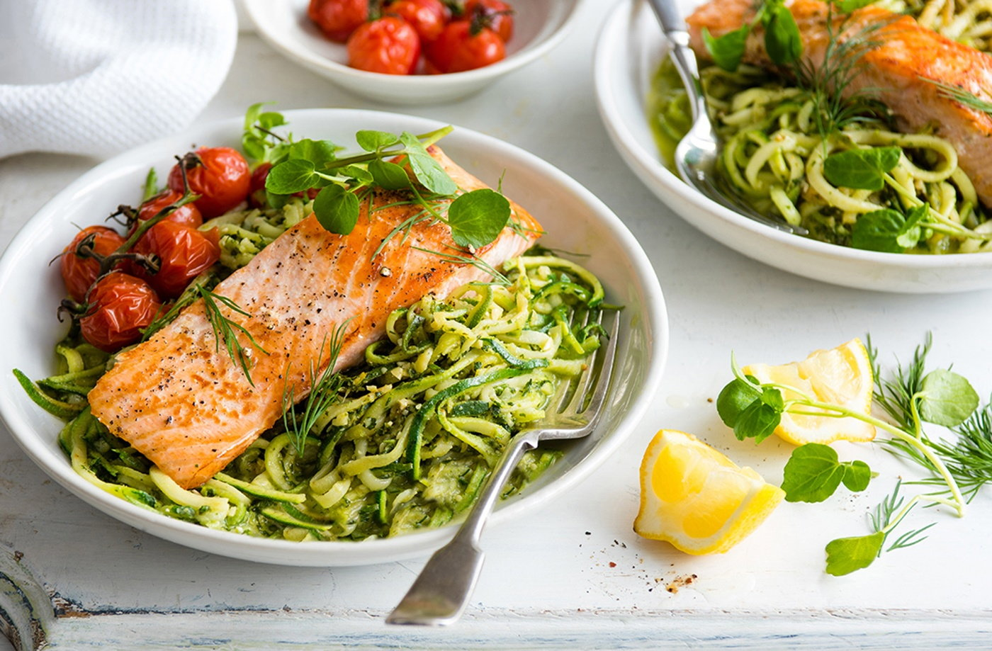 Salmon and courgetti with watercress and dill pesto recipe