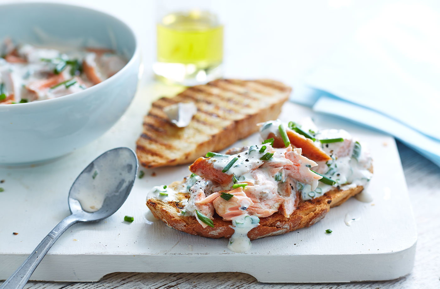 Leftover Salmon And Chive Bruschetta Tesco Real Food