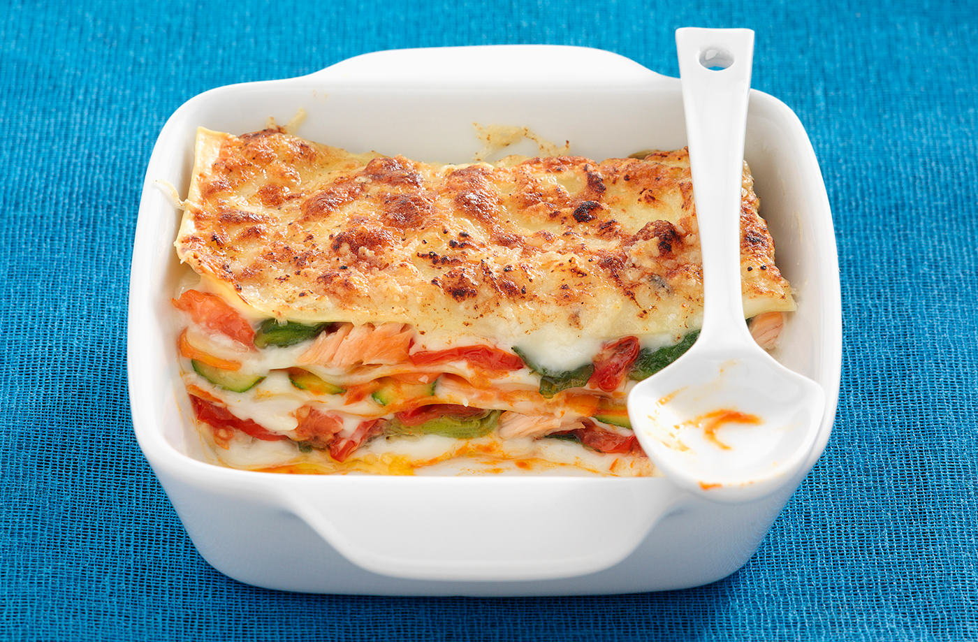 Salmon and vegetable lasagne recipe