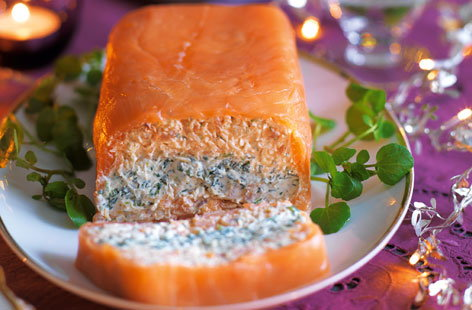 Smoked salmon, crab and watercress terrine