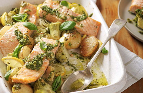 Salmon, artichoke and potato pesto traybake