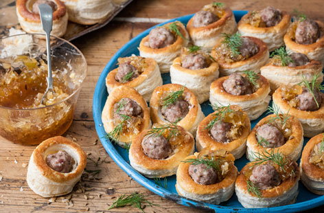 Colin mcgurran 39 s sausage and marmalade vol au vents for Canape fillings indian