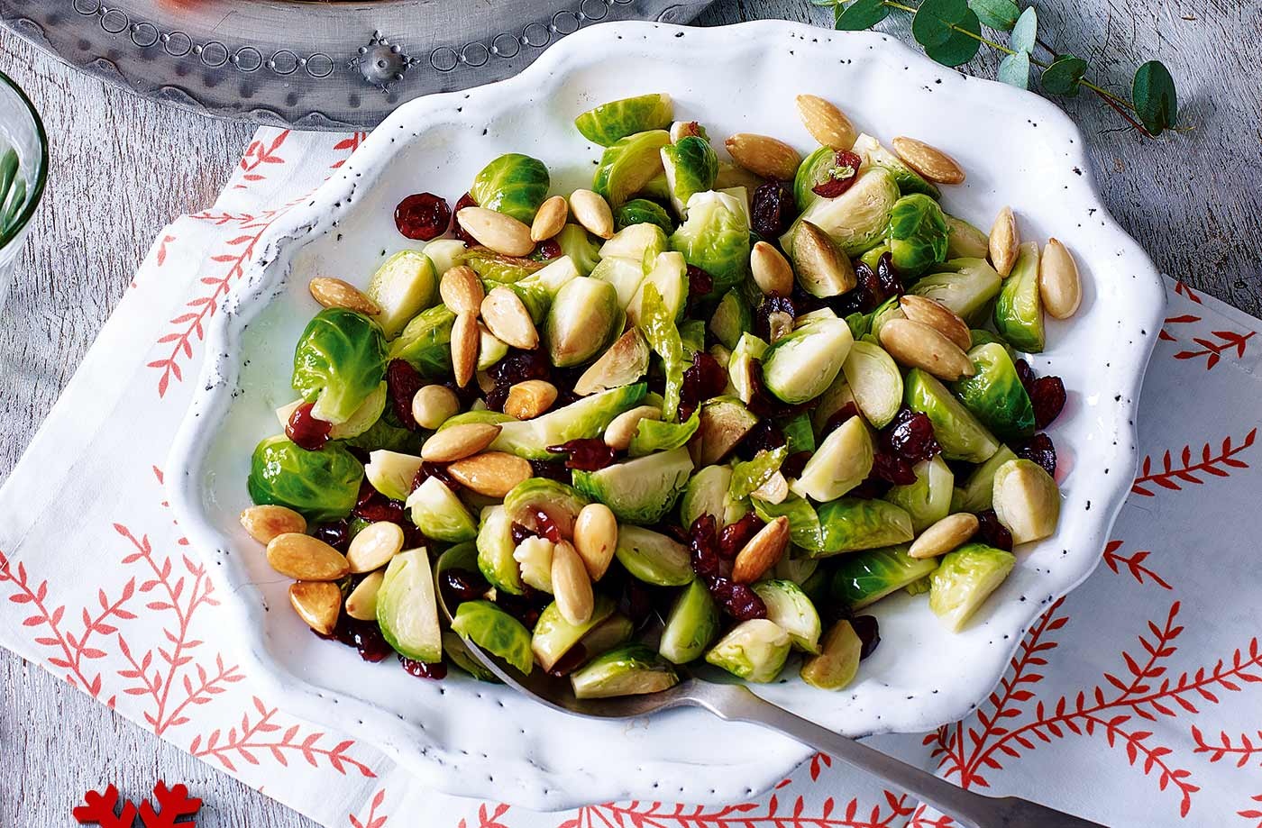 Sautéed sprouts with almonds and cranberries recipe