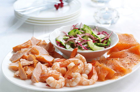 Seafood platter with cucumber and dill relish tesco real for Christmas fish starters