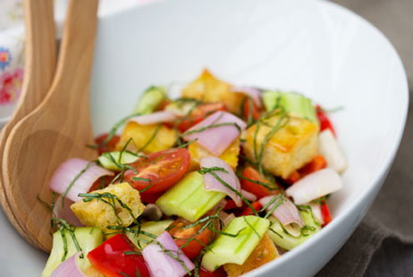 Shallot, Cucumber and Tomato Italian Bread Salad (h)