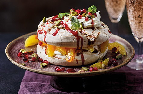 Sharing orange and raspberry meringue