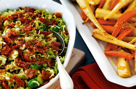 Shredded sprouts with lemon and bacon crumble