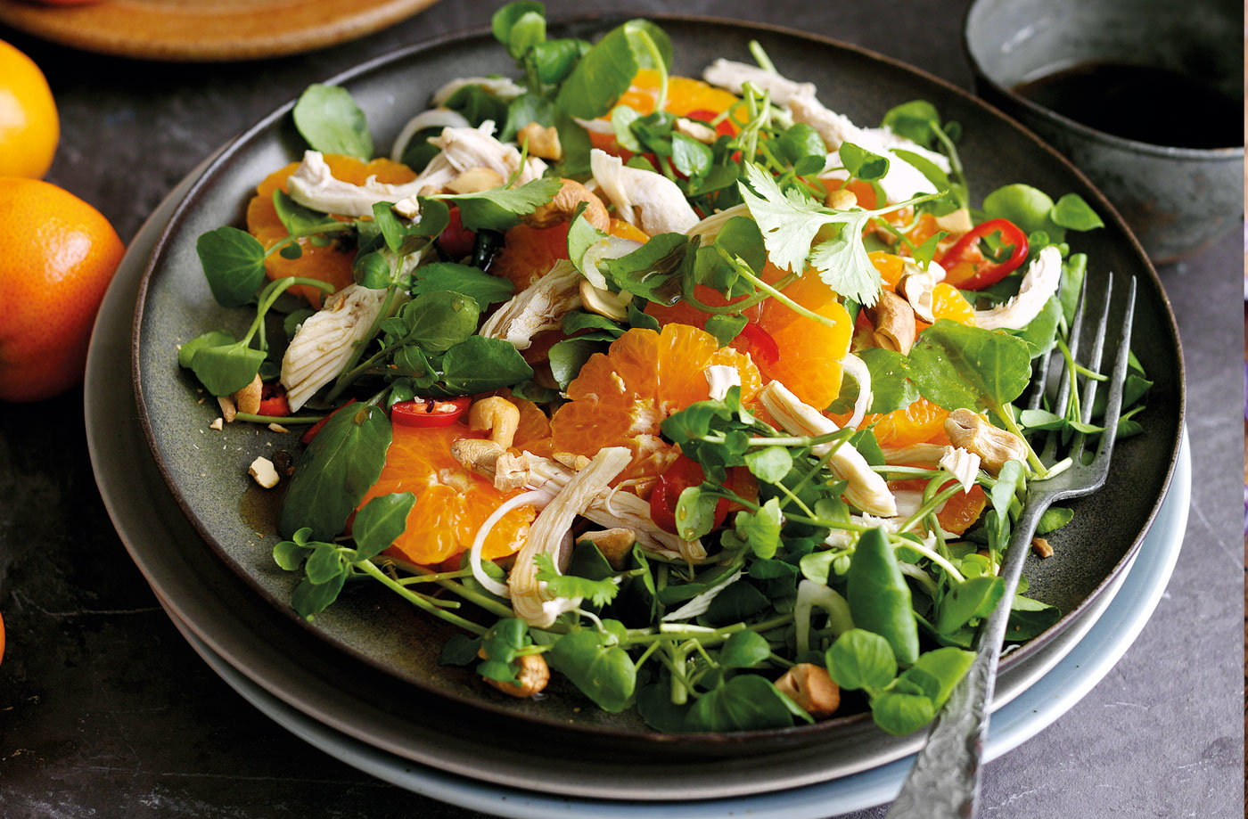 Shredded chicken and clementine salad with sweet soy dressing recipe