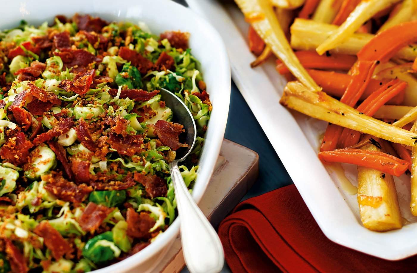Shredded sprouts with lemon and bacon crumble recipe