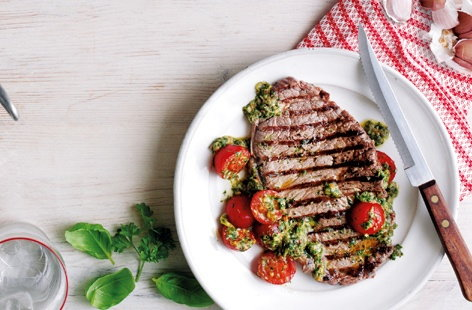 Sirloin steak with cherry tomatoes and salsa verde THUMB