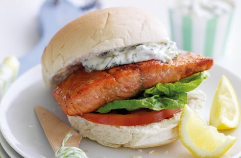 Salmon butties with tartare sauce