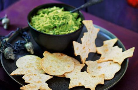 Slime dip with spooky tortilla shapes