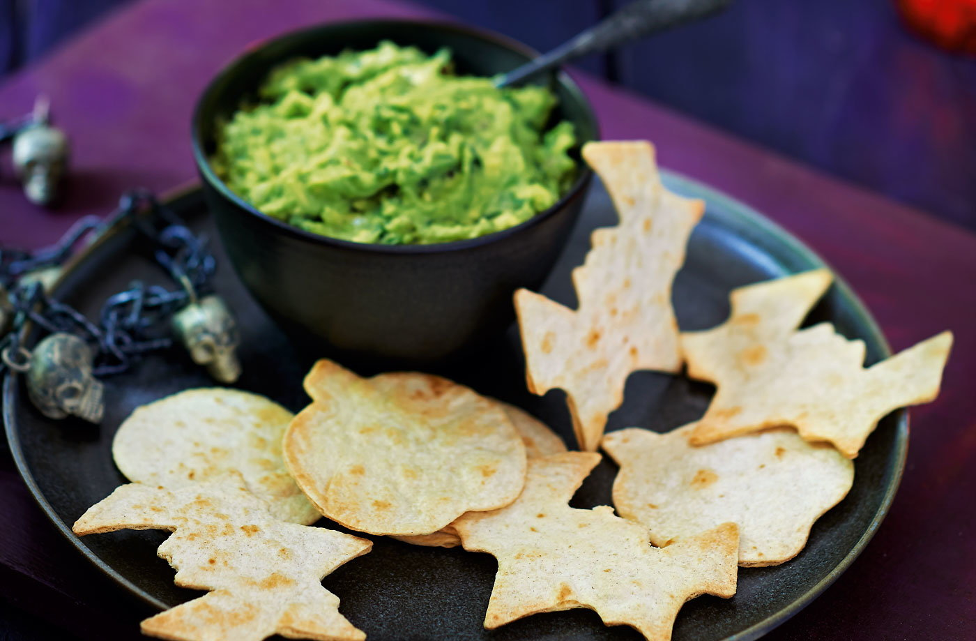 Slime dip with spooky tortilla shapes recipe