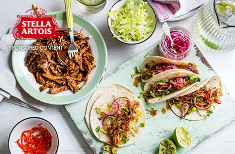 For the ultimate family feast, this slow cooker pulled pork recipe is fantastic. Made with spicy Mexican chipotle chilli and a hint of orange, the meat is cooked until falling off the bone, then served with tortillas and macerated onions