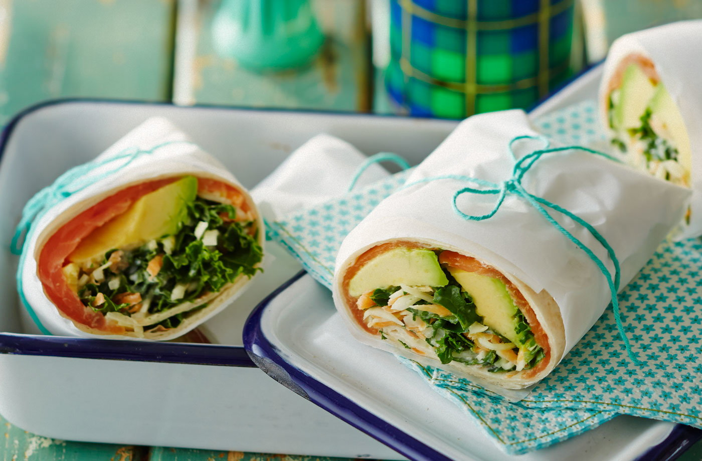 Smoked salmon and avocado wrap with slaw recipe