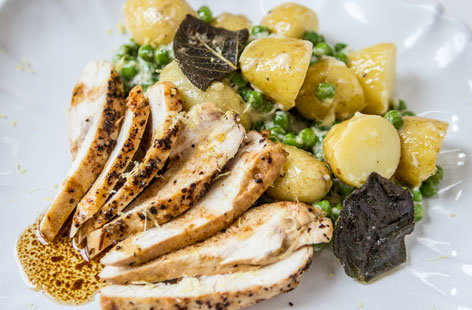 Lemon roasted chicken with potato salad