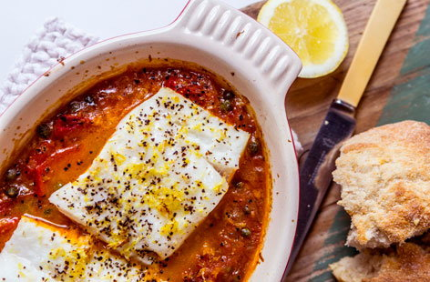Baked cod with a rich tomato sauce