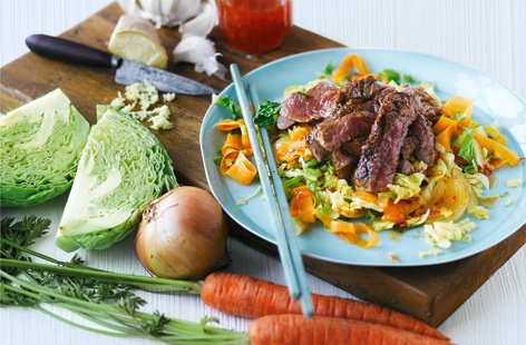 Soy glazed steak with cabbage recipe