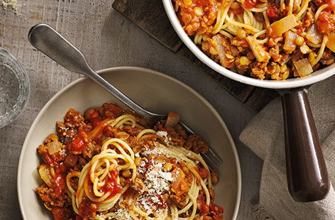 For an easy way to eat less meat, revamp a classic spaghetti Bolognese recipe with beef-and-veg mince, which contains more than 30% carrot, onion and butternut squash