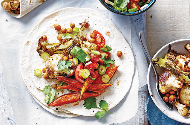 Wednesday: Spiced cauliflower and chickpea taco