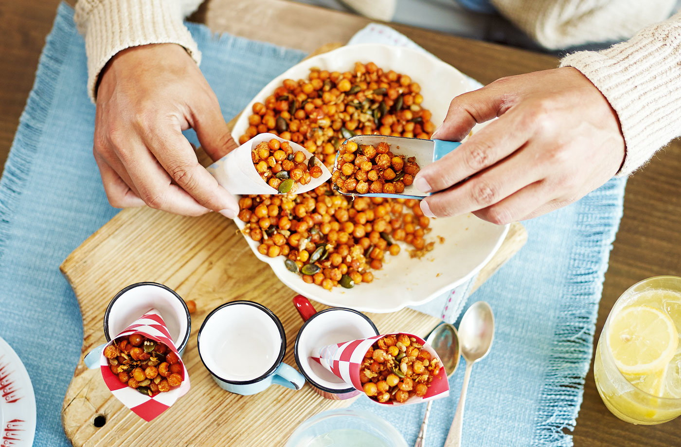 Spiced, honey-roast chickpeas and seeds recipe