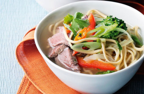 Spiced noodle broth with poached beef and broccoli HERO