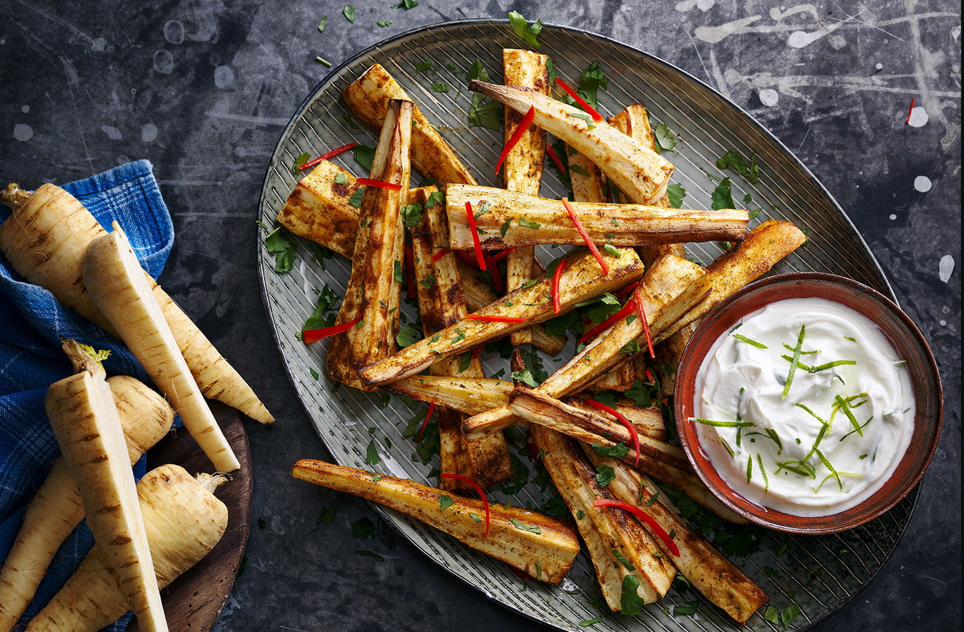 Spiced roast parsnips with zesty yogurt recipe