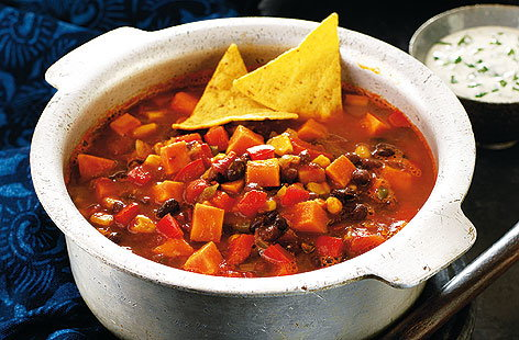 Spicy bean and sweet potato stew