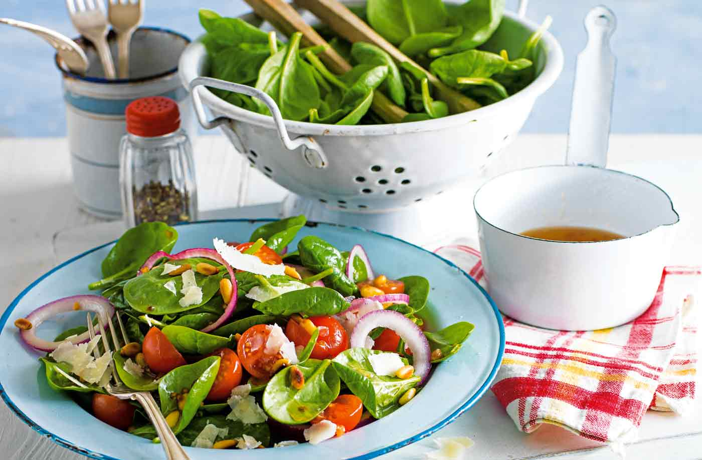 Spinach salad with warm lemon and garlic dressing recipe