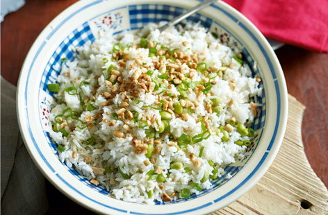 The ideal accompaniment to an Asian feast - this easy fried rice dish is made with spring onion, ginger and soya beans, with a scattering of chopped peanuts for extra crunch