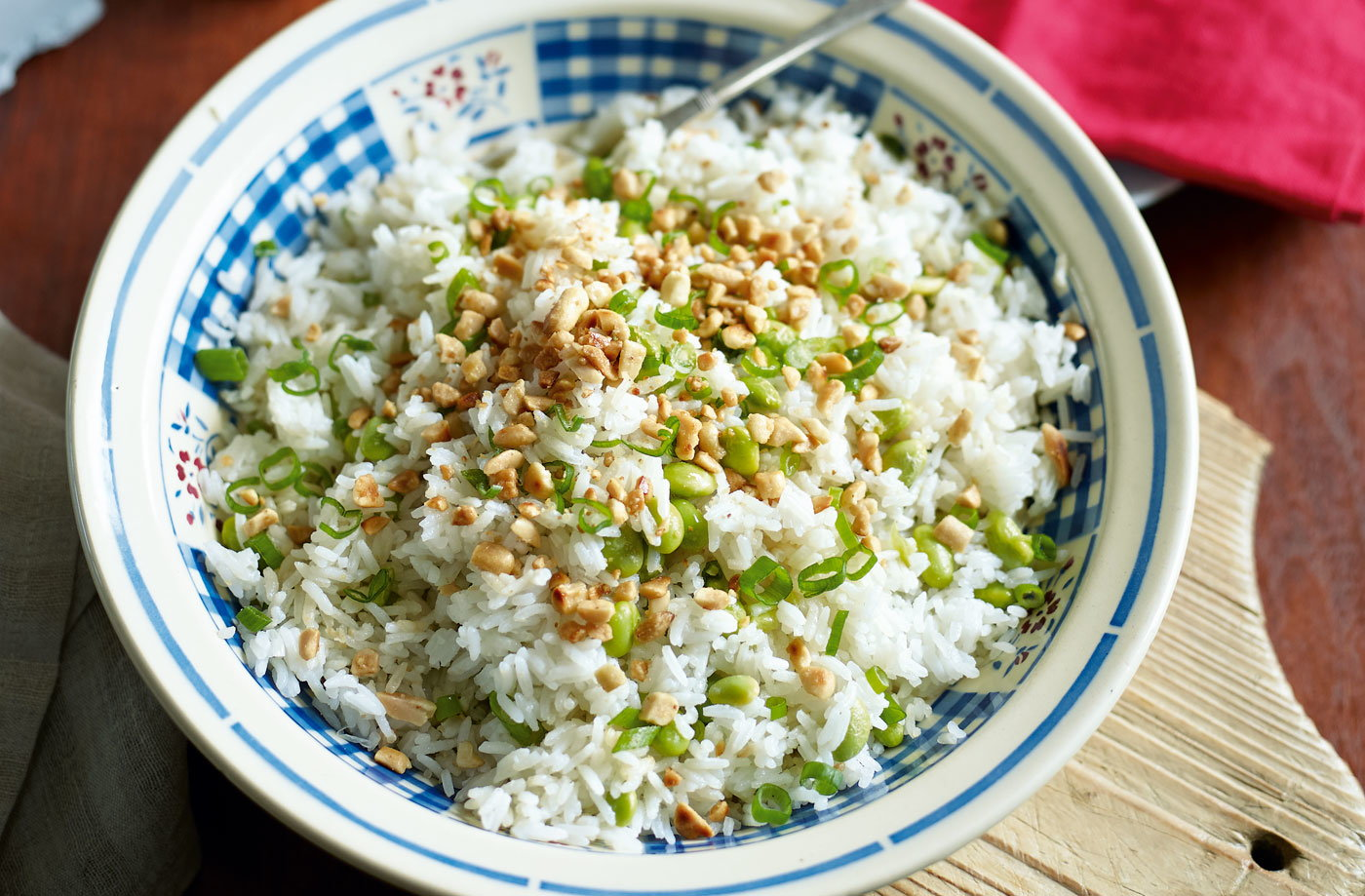 Spring onion and peanut fried rice recipe