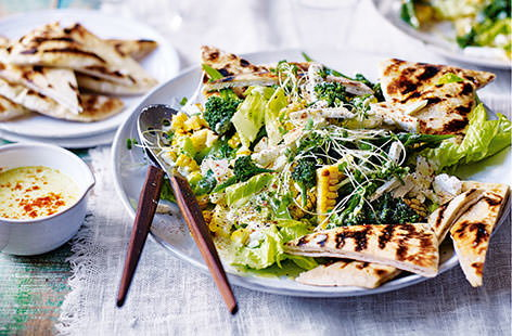 Bursting with spring flavours, this medley of vibrant veggies combines grilled sweetcorn, tender broccoli, crisp lettuce, tangy feta and crunchy pitta toasts. A refreshing yogurt dressing makes this nutritious salad the perfect way to celebrate the season.