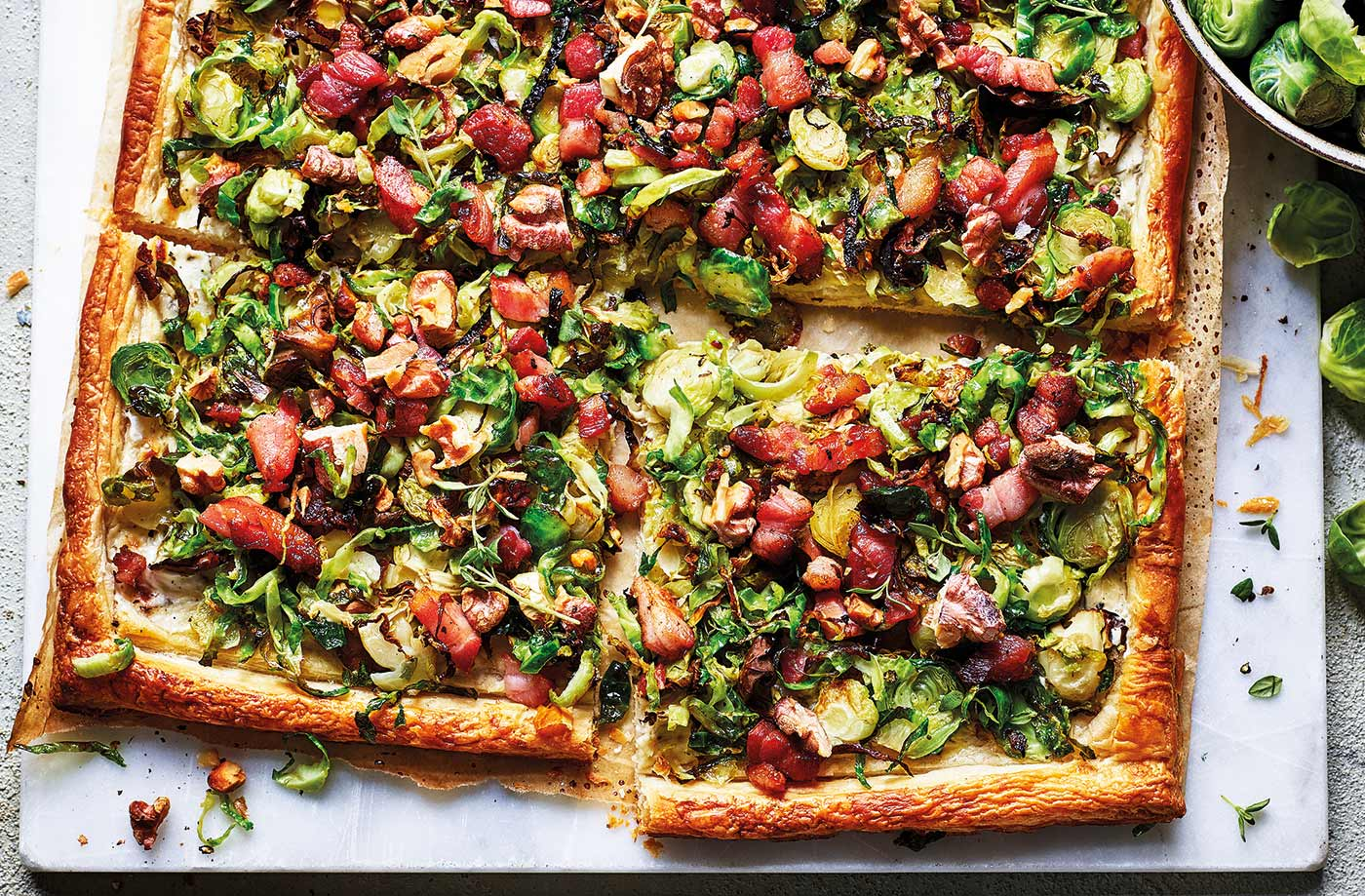 Shredded sprout and bacon tart recipe