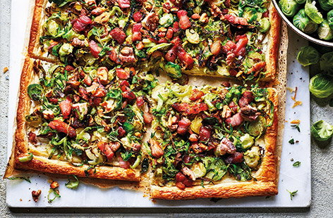 Shredded sprout and bacon tart