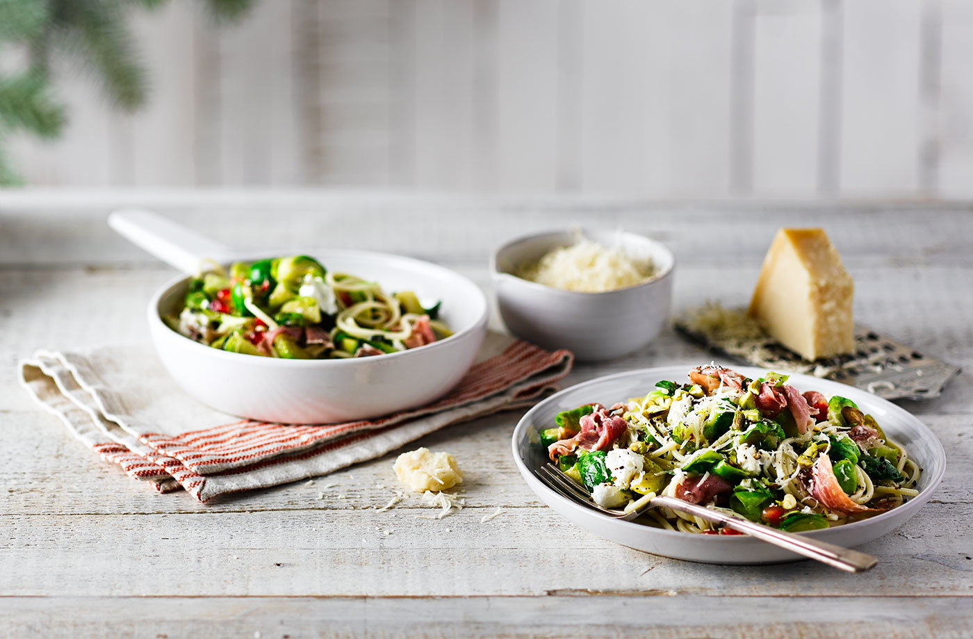 Sprout and prosciutto spaghetti with pistachios recipe
