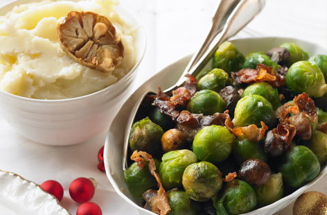 Brussels sprouts with sugared pancetta and chestnuts
