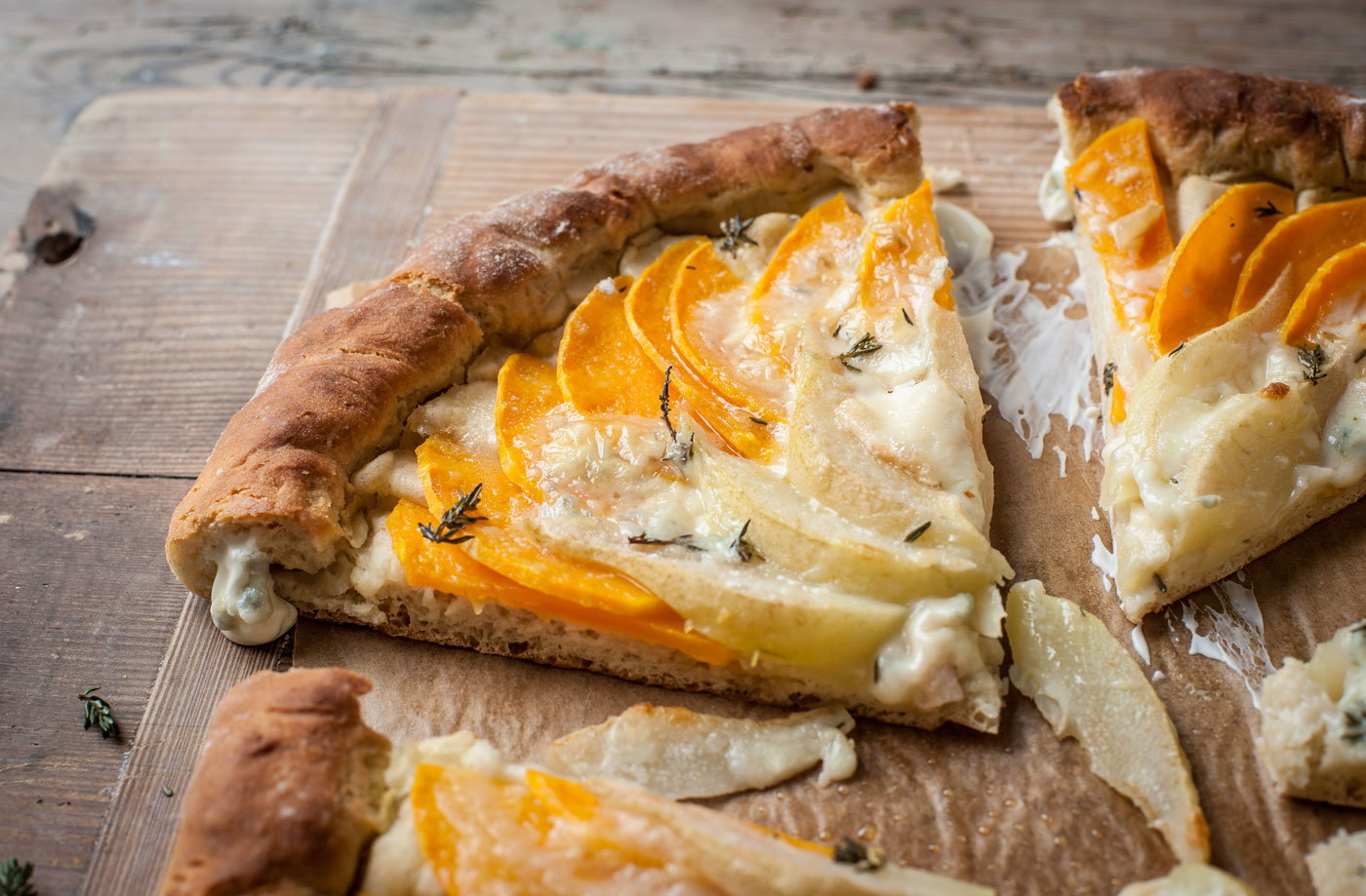 Adam Byatt's butternut squash, pear and gorgonzola flatbread recipe
