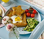 Star egg toast with avocado and tomatoes