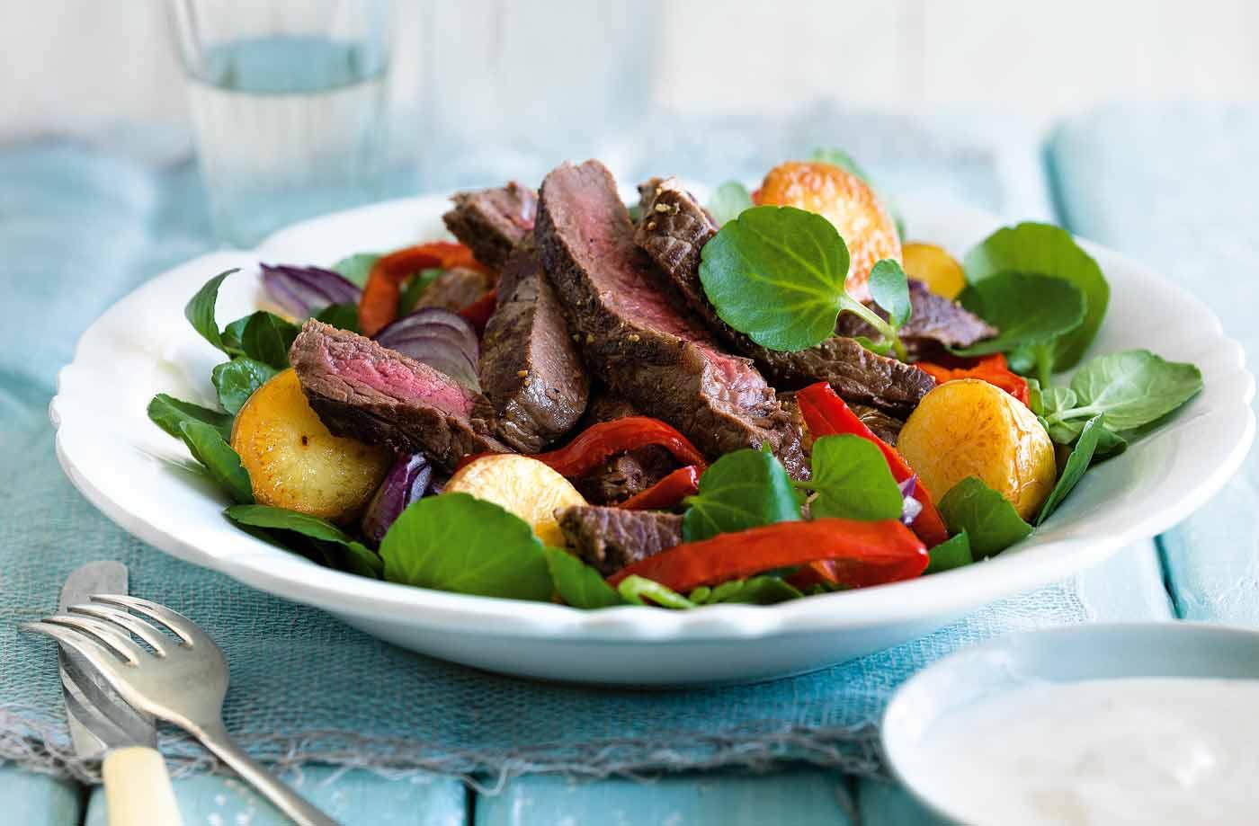 Steak and roast baby potato salad with creamy horseradish dressing ...