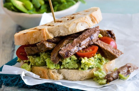 Treat yourself to a steak sandwich for a weekend lunch or midweek dinner, with this recipe that makes the most of summery flavours such as broad bean and avocado. Adding a sprinkling of smoked paprika before cooking the steaks brings a lovely smoky sweetness.
