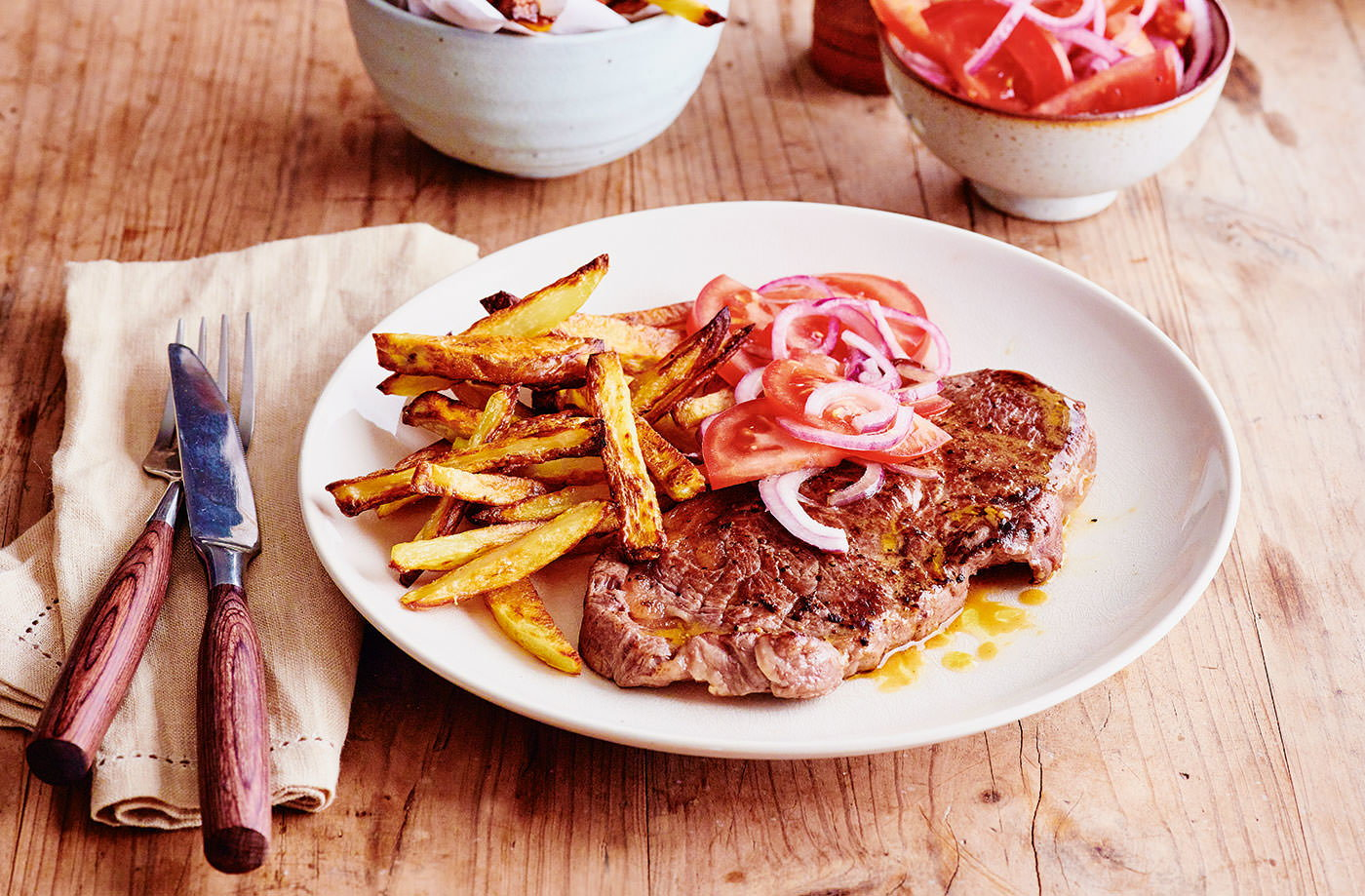 Steak and chips with salsa recipe