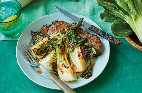Steak with miso-roasted pak choi