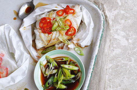 Steamed fish with soy dressing