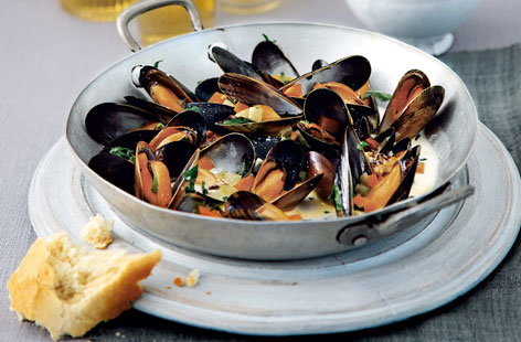 Steamed mussels with tarragon cream HERO